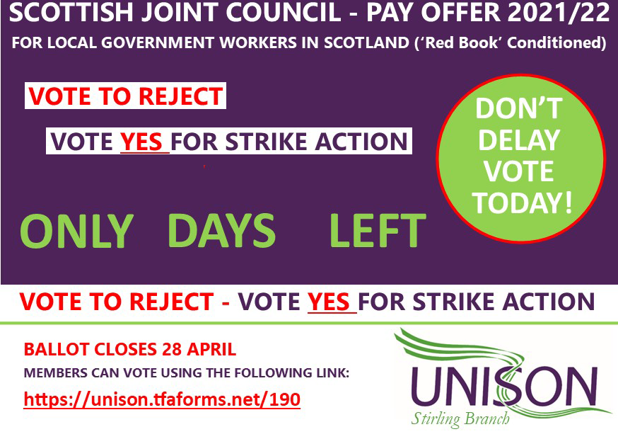 Only Days left to vote- Pay offer2021/22